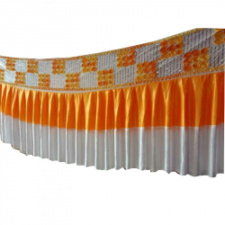 Table Cover Frill - Counter Jhalar - Made Of Brite Lycra - Yellow & White Color ( Available Size 10 FT, 15 FT, 30 FT )