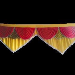 Designer Zalar - Scallop Zalar - Kantha - Jhalar - Made Of Lycra With Tipki - Sona Gold & Red & Mehendi Green Color (Available size in 10 FT,15 FT,18 FT,30 FT )