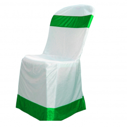 Lycra Cloth Chair Cover Without Handle - For Plastic Chair - Armless - White With Green Bow